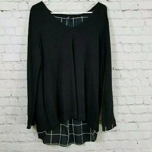 NYDJ Long Sleeve Knit Layered Open Back Sweater